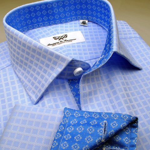 B2B Shirts - Blue Herringbone Fade Checkered Formal Business Dress Shirt with Diamond Stars - Business to Business