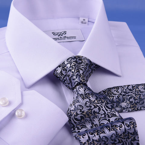 White Cotton & Polyester Easy Iron Business Professional Formal Dress Shirt