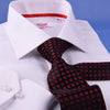 White Cotton Mini Herringbone With Red Inner Lining For Professional Dress EgoFormal Dress Shirt