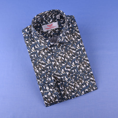 Blue Big Paisley Unique Designed Both Casual & Formal Business Smart Dress Shirt in Single Button Cuffs