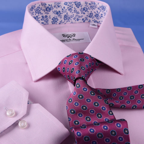 Pink Oxford Floral Inner Lining Formal Dress Shirt Sexy Business Formal Attire in Single Button Cuffs