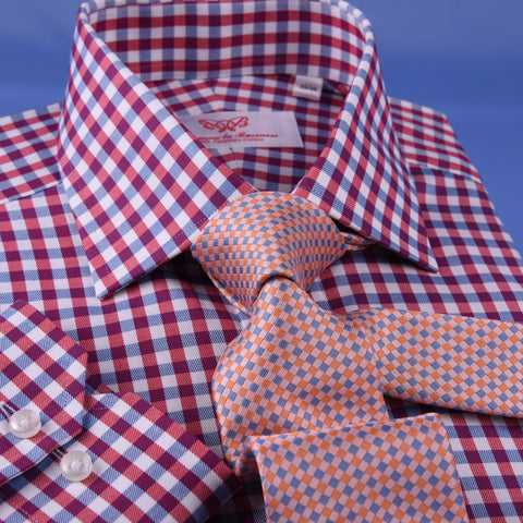 Blue & Pink Attractive Check Formal Business Dress Shirt Egyptian Cotton Fabric