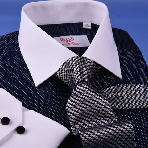 Dark Navy DOT With White Contrast Collar & Cuff For Formal Business Dress Shirt Professional Formal Dress Shirt