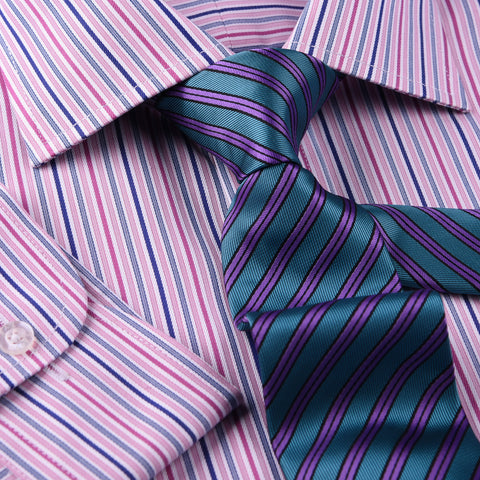Pink Blue Soft Stripe Formal Business Dress Shirt Designer Stylish Fashion Style Single Cuff