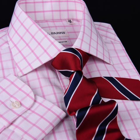 Mens Pink Plaids & Checks Formal Business Dress Shirt Lightweight Easy Iron Top in Single Button Cuffs