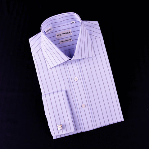 Blue Striped Dress Shirt Formal Business Designer Stripes Stylish Fashion