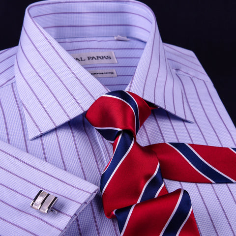 Copy of Mens Pink Plaids & Checks Formal Business Dress Shirt Lightweight Easy Iron Top in Single Button Cuffs