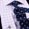 Purple Plaids & Checks Designer Formal Business Dress Shirts Designer Fashion A+ Double Cuff
