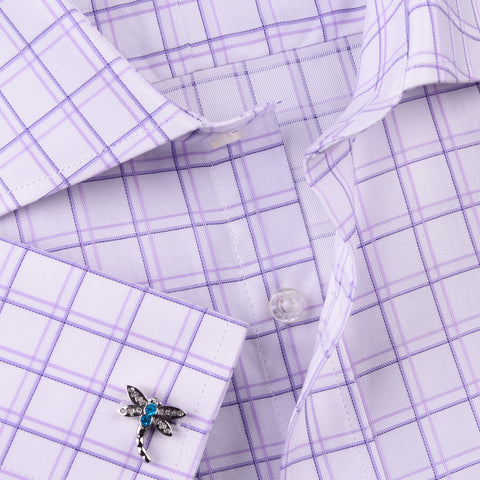 Purple Plaids & Checks Designer Formal Business Dress Shirts Designer Fashion A+ Single Cuff