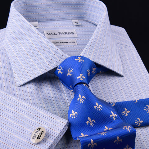 Blue Designer Striped Formal Business Dress Shirt Egyptian Cotton Luxury Style