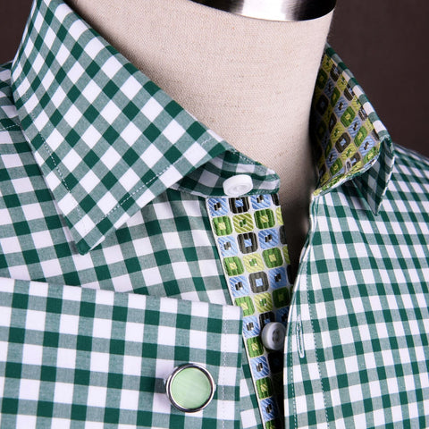 B2B Shirts - Large Green Gingham Check Formal Business Dress Shirt Blue Puzzle Designer Fashion - Business to Business
