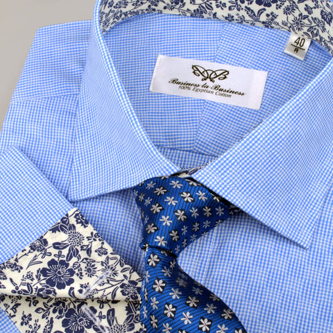 B2B Shirts - Blue Retro Pinwheel Checkered Mini Gingham Checkered Formal Business Dress Shirt with Luxury Floral - Business to Business