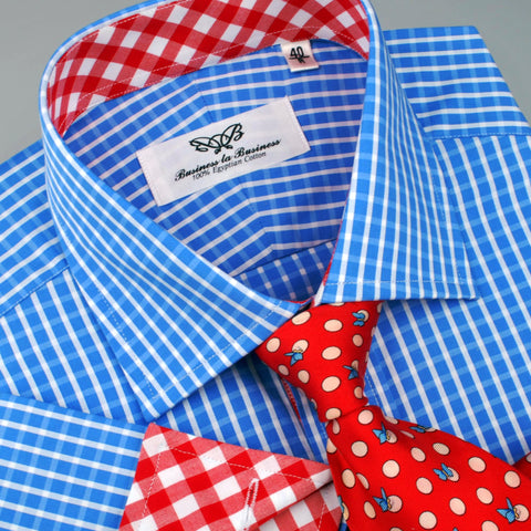 B2B Shirts - Blue Designer Gingham Check Formal Business Dress Shirt Red Checkered Fashion - Business to Business