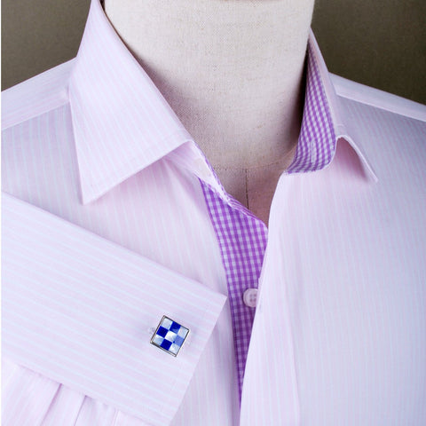 B2B Shirts - Pink Lavender Stripe Formal Business Dress Shirt Luxury Gingham Check Fashion - Business to Business