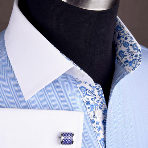 B2B Shirts - Light Blue Luxury Herringbone White Collar White Cuff Formal Business Dress Shirt with Paisleys - Business to Business