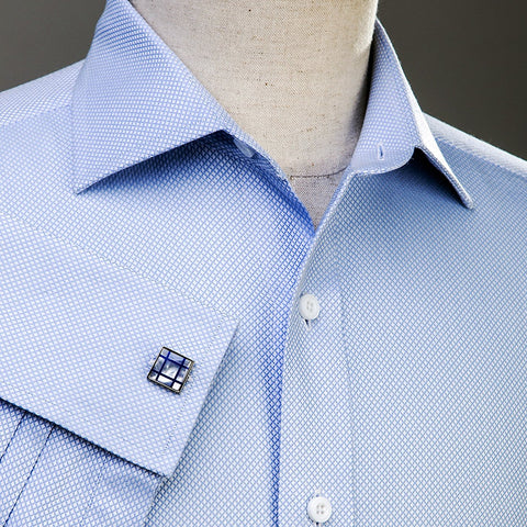 B2B Shirts - Light Blue Marcella Formal Business Dress Shirt Luxury Double French Cuff Fashion - Business to Business