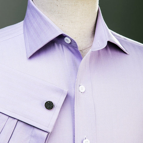 B2B Shirts - Lilac Herringbone Formal Business Dress Shirt in French Double Cuffs - Business to Business