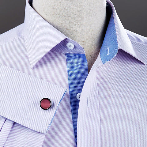 B2B Shirts - Lilac Hairline Stripe Formal Business Dress Shirt Blue Royal Oxford Fashion - Business to Business
