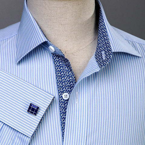 B2B Shirts - B2B Blue Striped Formal Business Dress Shirt Designer Fashion - Business to Business