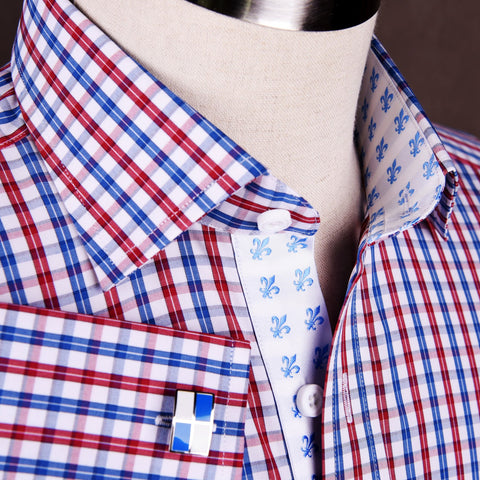 B2B Shirts - Red Blue Gingham Striped Checkers Formal Business Dress Shirt Fleur-De-Lis Fashion - Business to Business