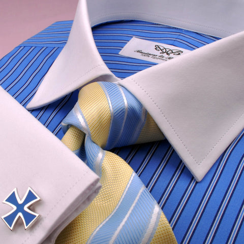 B2B Shirts - Blue Hollow Case Striped Formal Business Dress Shirt White Collar & Cuff Fashion - Business to Business