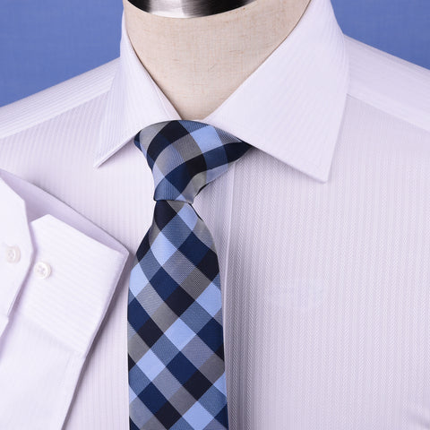 White Cotton Mini Herringbone With Blue Inner Lining For Professional Dress EgoFormal Dress Shirt This Shirt Is Designed for Professional Daily Work With Easy Care Of The Dress Shirt