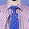 Pink Blue Soft Stripe Formal Business Dress Shirt Designer Stylish Fashion Style Double Cuff