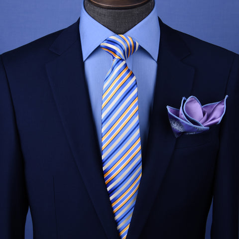 "Blue, Golden & White 3"" Necktie Business Formal Elegance for Smart Men's Ego"