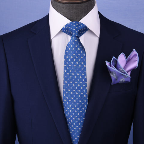 Blue Stylis Italian Pattern Necktie Business Formal Elegance For Smart Men's Ego