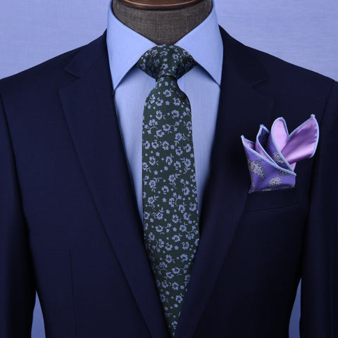 "Dark Green Floral 3"" Necktie Business Formal Elegance For Smart Men's Ego"