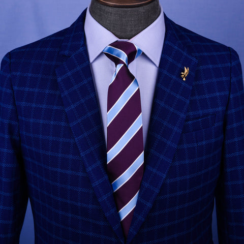Light Blue & Purple Formal Business Striped 3 Inch Tie Mens Professional Fashion