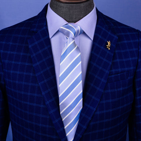 Light Blue Smart Formal Business Striped 3 Inch Tie Mens Professional Fashion