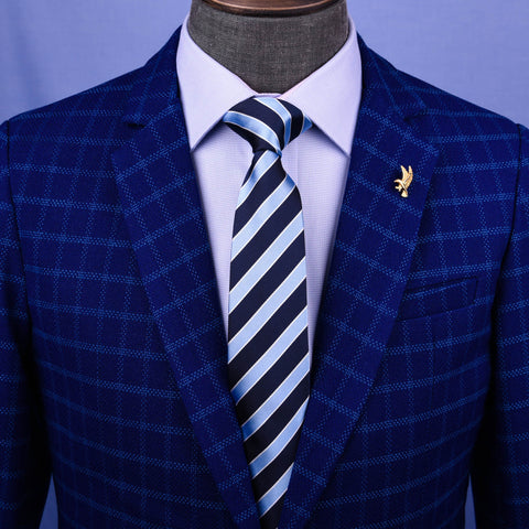 Blue & Navy Boss Formal Business Striped 3 Inch Tie Mens Professional Fashion