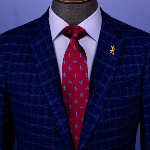 "Burgundy With Blue Fleur-De-Lis Italian Designer 3.15"" Tie Professional Fashion"