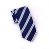 Silver & Navy Boss Formal Business Striped 3 Inch Tie Mens Professional Fashion