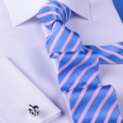 Light Blue & Pink Formal Business Striped 3 Inch Tie Mens Professional Fashion