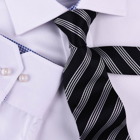 "Black & Silver Stripe Formal Business Striped 3"" Tie Mens Professional Fashion"