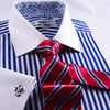 A+ Blue Striped Dress Shirt Formal Contrast French Cuff Business Fashion Floral Top