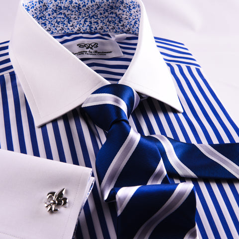 Navy Blue Striped White Spread Collar French Cuff Business Formal Shirt Top