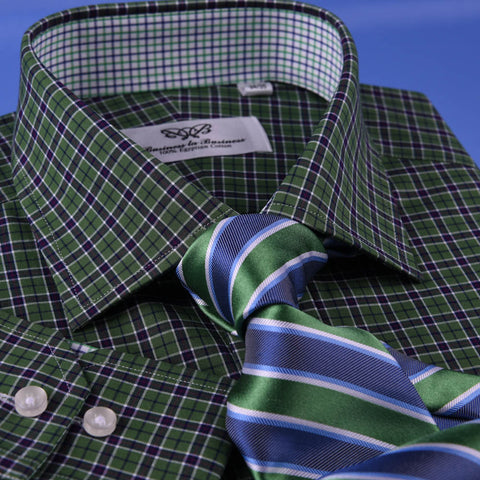 Dark Forest Green Checkered Dress Shirt Men's Formal Business Sexy Polo Design in Standard Cuffs