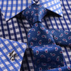 B2B Shirts - Contrast Check Formal Business Dress Shirt Designer Checkered Inner Lining - Business to Business