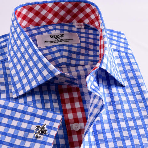 B2B Shirts - New Arrival Blue Checks On Twill Formal Business Dress Shirt With Fashion Inner-Lining - Business to Business