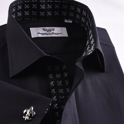 B2B Shirts - New Arrival Unique Designed Black Herringbone Formal Business Dress Shirt Stylish Luxury Fashion Apparel in French Cuffss - Business to Business