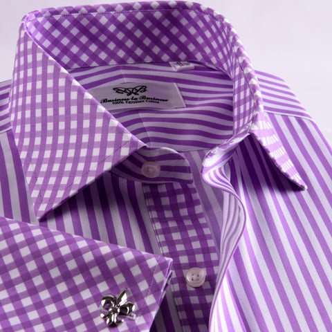 B2B Shirts - Purple Striped Dress Shirt Formal Contrast Collar and French Cuff Business Fashion Design - Business to Business