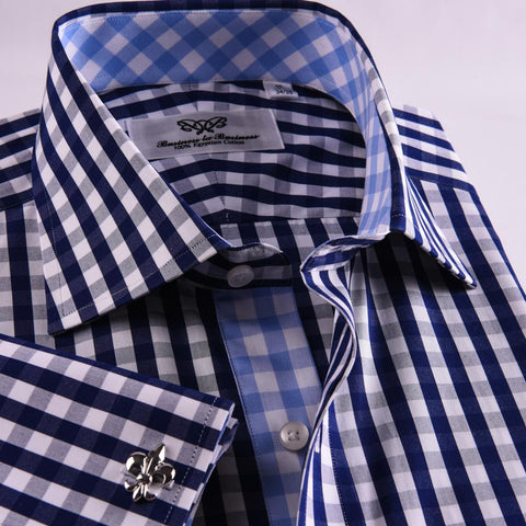 B2B Shirts - Unique Designed Navy Blue Check Formal Business Dress Shirt Designer Checkered Inner Lining - Business to Business