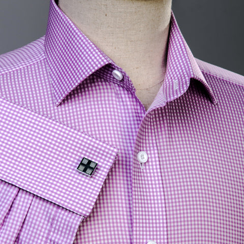 B2B Shirts - Pink Gingham Check Formal Business Dress Shirt Luxury Designer Fashion - Business to Business