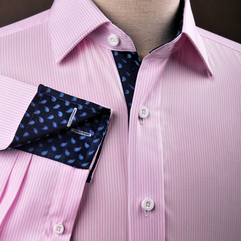 B2B Shirts - Pink Hollow Stripe Formal Business Dress Shirt with Blue Flame Inner-Lining - Business to Business