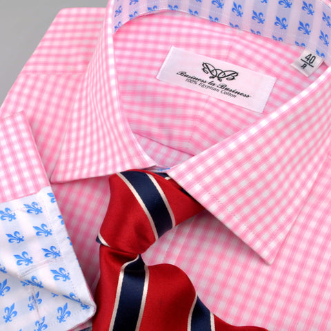B2B Shirts - Pink Designer Chambers Check Formal Business Dress Shirt w Blue Italian Fleur-De-Lis Lily - Business to Business