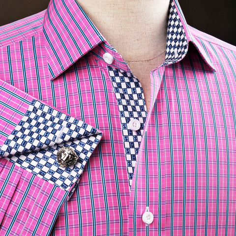 B2B Shirts - Pink Magenta Checkered Striped Formal Business Dress Shirt Money Luxury Millionaire - Business to Business