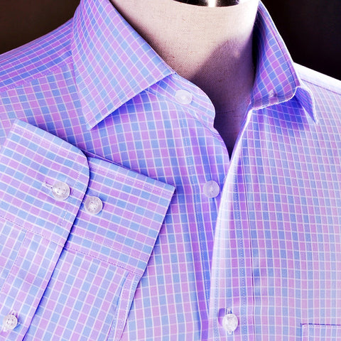 B2B Shirts - Purple Blue Plaids & Checks Formal Business Dress Shirt Checkered Fashion - Business to Business